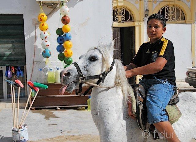 Libya / Tripoli medina / boy on horse
