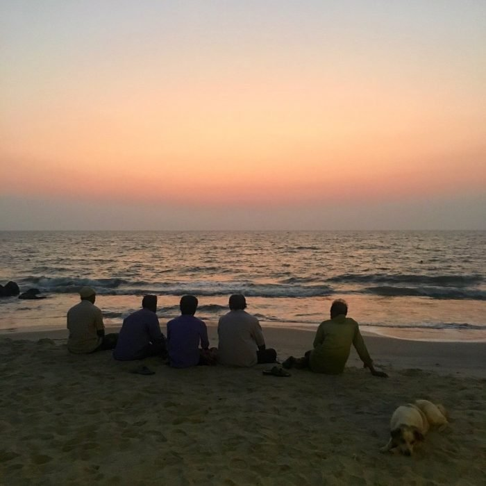 Kerala fishermen & sunset