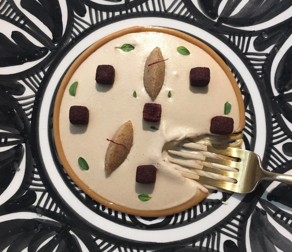 Noor restaurant - Karim of toasted almond, Sahara urchin & green apple with sumac