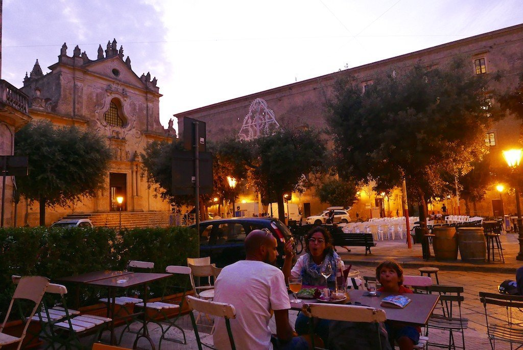 Puglia, Tricase, main square at dusk from bar