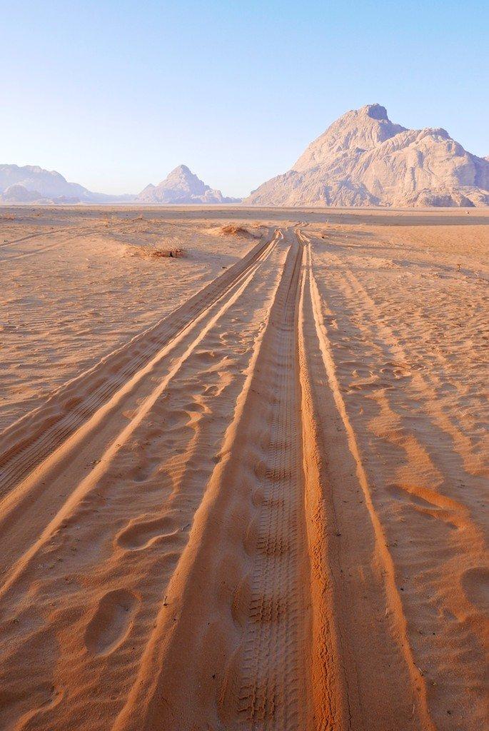 Jordan, Wadi Rum, desert, sandstone, jeep tracks