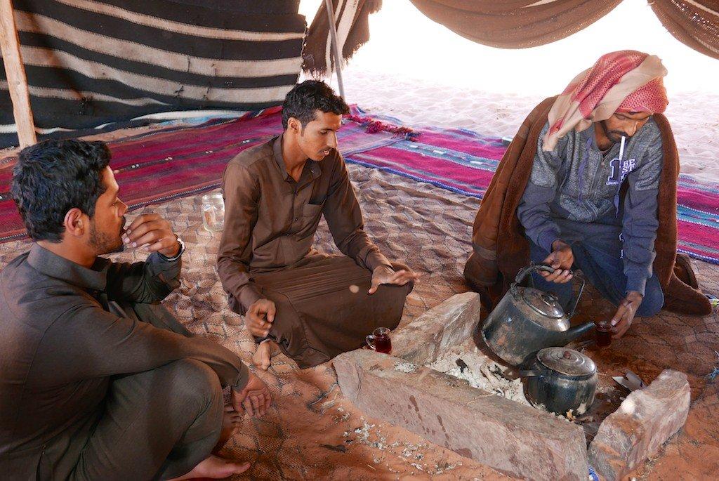 Jordan, Wadi Rum, desert, sandstone, Bedouin tent, tea
