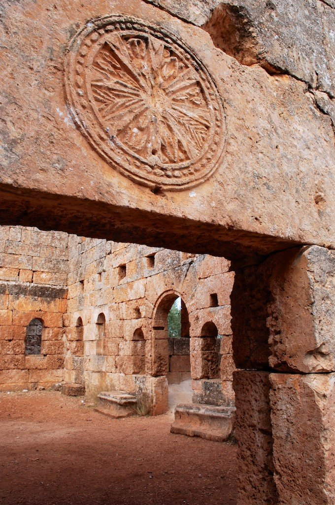 Cities of the Dead, Idlib province, church with carving in stone