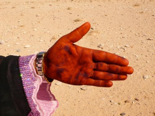 Bedouin hennaed hand, camp near Palmyra