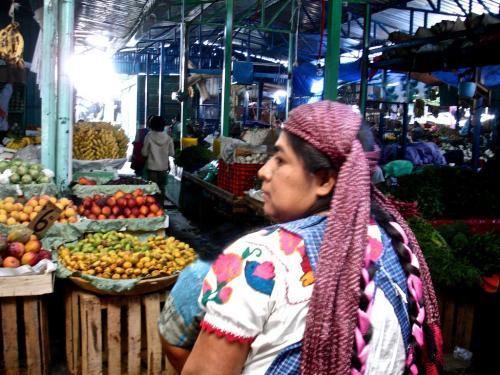 Oaxaca market & Zapotec woman